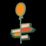 cartelli-colorati-direzioni-palloncino-arancione